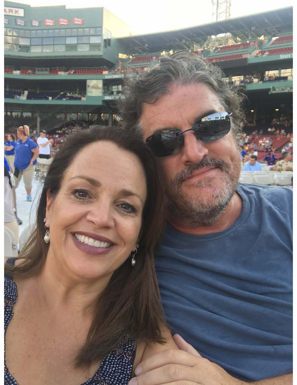 Tina and her husband at Fenway Park